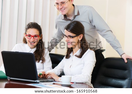 Group of young people on business project presentation  - stock photo