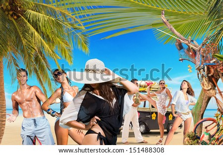 Group of Young people on the beach Travel concept