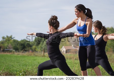 group of young people practicing in an outdoor yoga class - stock photo