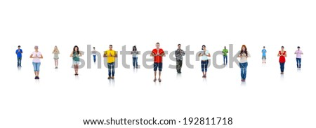 Group of young people praying - stock photo