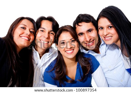 Group of young people smiling and having fun - stock photo
