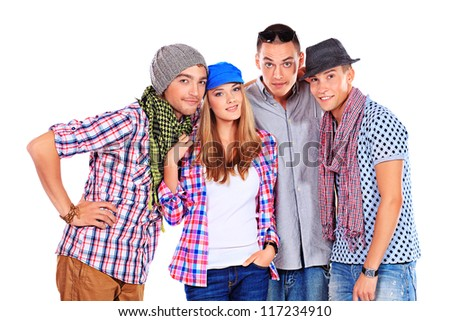 Group of young people standing together. Friendship. Isolated over white.