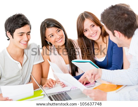 Group of young people studying together - isolated over a white background
