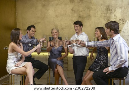 Group of Young People Toasting at a Bar - stock photo