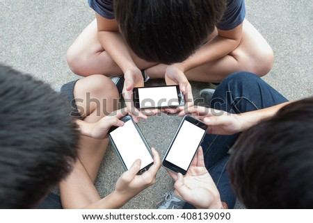 group of young people use smart phone with white screen - stock photo