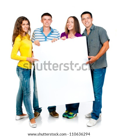 group of young people with a white banner - stock photo