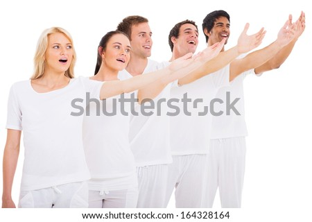 group of young singers performing on white background - stock photo
