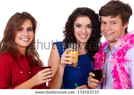 Group of young smiling happy people having fun on a party, isolated on white