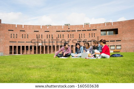 Group of young students using laptop in the lawn against college building - stock photo