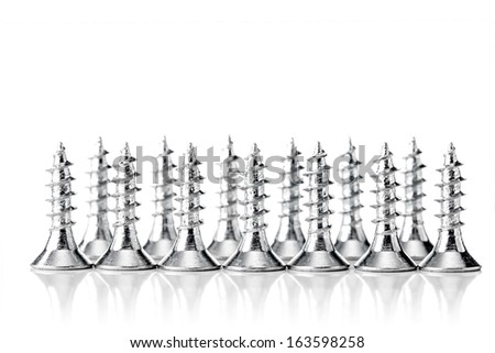 group of zinc coated screws, isolated on white