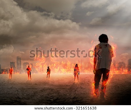 Group of zombie get burn. Halloween concept - stock photo