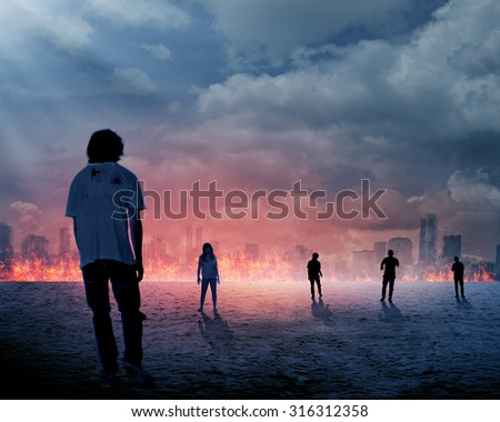 Group of zombie over burn city background. Halloween concept - stock photo