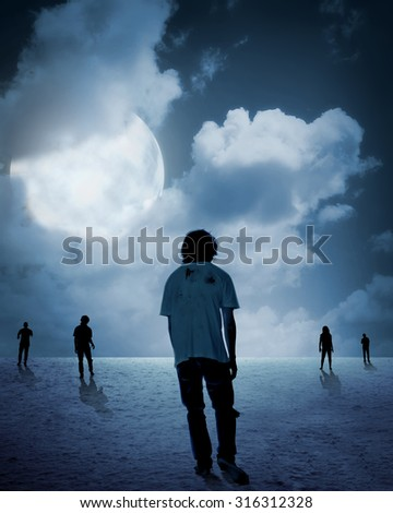 Group of zombie walking under full moon. Halloween concept - stock photo