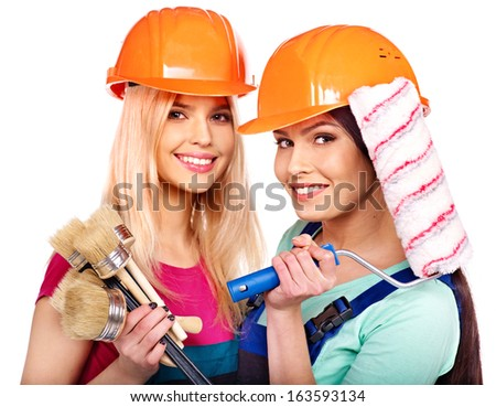 Group people builder  with construction tools. Isolated. - stock photo