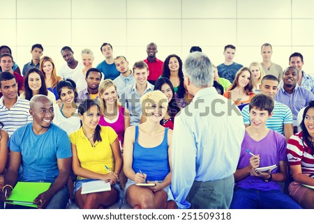 Group People Casual Lecture Teacher Speaker Notes Concept - stock photo