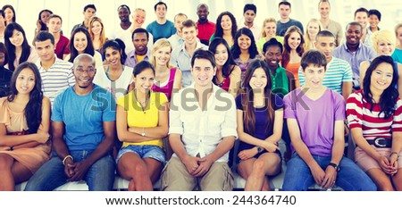 Group People Crowd Audience Casual Multicolored Sitting Concept - stock photo