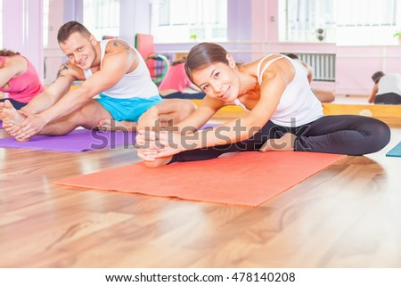 Group people doing exercise. Asian woman. Healthy lifestyle. Fitness, pilates, any sports activities, healthy body