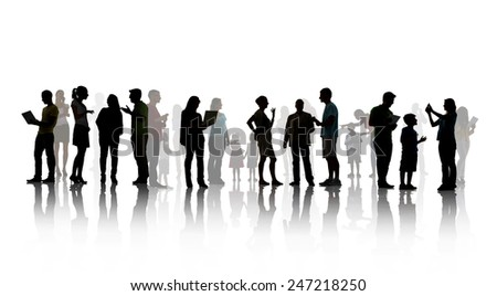 Group People Family Children Technology Communication Talking Concept - stock photo