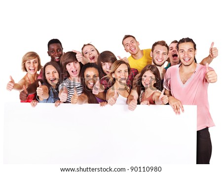 Group people holding banner. Isolated. - stock photo