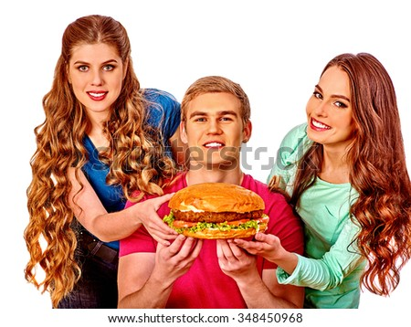 Group people holding big hamburgers . Fast food concept. Isolated. Man on foreground.