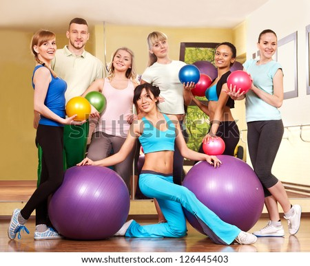 Group people in aerobics class.  Fitness ball.