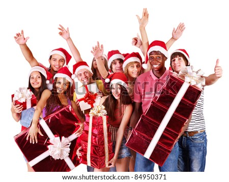 Group people in santa hat with gift box. Isolated.