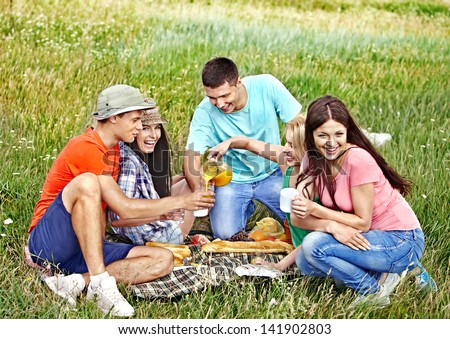 Group people on picnic summer outdoor.