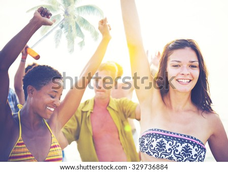 Group People Partying Tropical Beach Summer Drinking Concept - stock photo