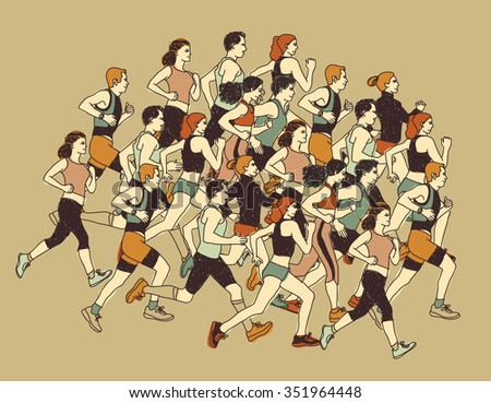 Group people sport moving run together. Healthy marathon with group young people. Color illustration.  - stock photo