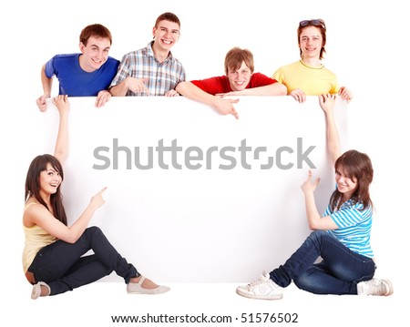 Group people with banner. Isolated. - stock photo