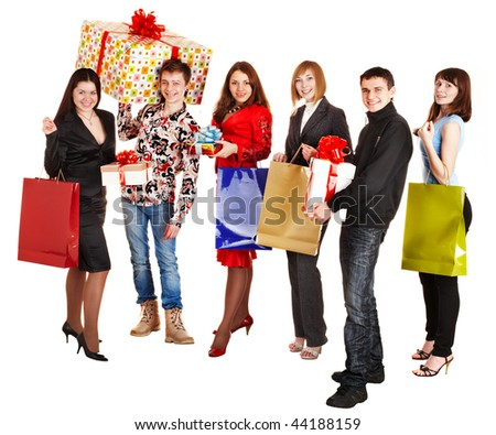 Group people with shopping bag and gift box. Isolated.