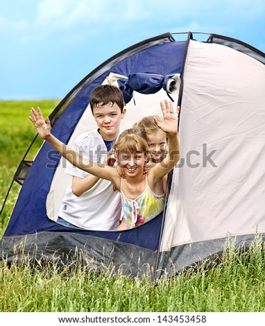 Group people with tent summer outdoor.