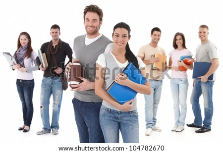 Group portrait happy of college students, smiling young couple in front. - stock photo
