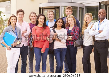 Group Portrait Of College Students With Tutor - stock photo