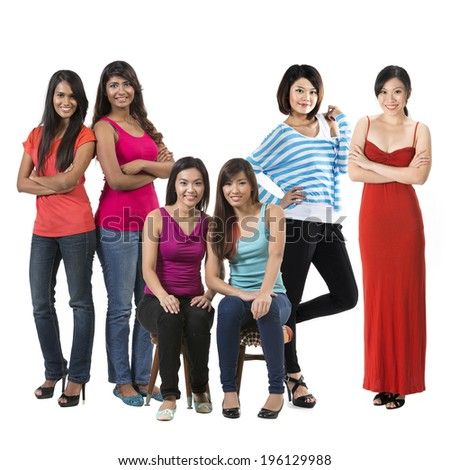 Group portrait of Six happy Asian women. Isolated on a white background. - stock photo