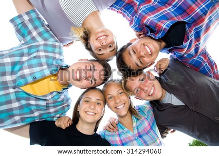 Group portrait of young  teenagers - stock photo