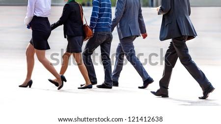 Group reaching employees. Panorama.  Urban landscape. - stock photo