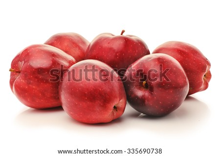 Group rustic bright juicy ripe red apples isolated on a white background closeup - stock photo