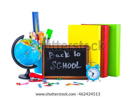 Group School Supplies: backpack, books, alarm clock, pencils, markers, globe, isolated on white background. Back to school concept.