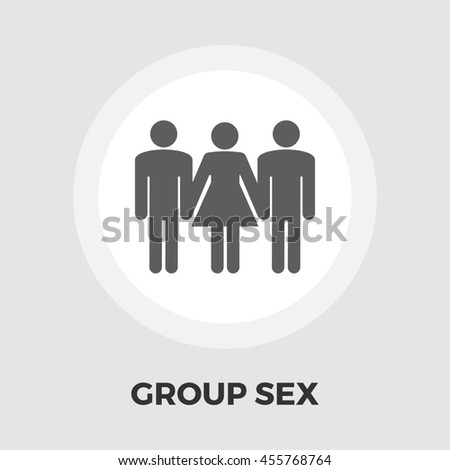 Group sex flat icon isolated on the white background. - stock photo
