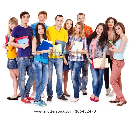 Group student with notebook isolated . - stock photo