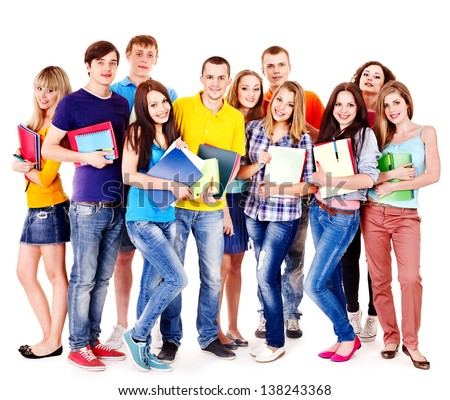 Group student with notebook isolated. - stock photo