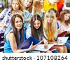 Group student with notebook on bench outdoor. - stock