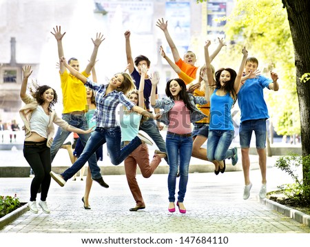 Group student with notebook summer outdoor. - stock photo