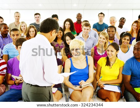 Group Students Lecture Room Education Happiness Concept - stock photo