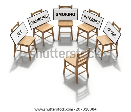 Group therapy concept with wooden chairs