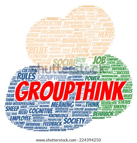 Group think word cloud shape concept - stock photo