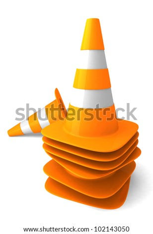 group traffic cone on white background. - stock photo