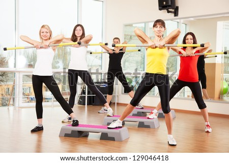 Group training in a fitness class - stock photo