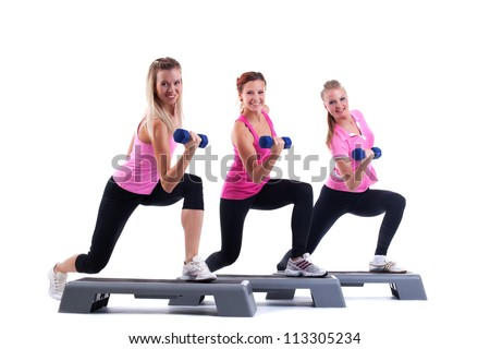 group training instructors with dumbbells